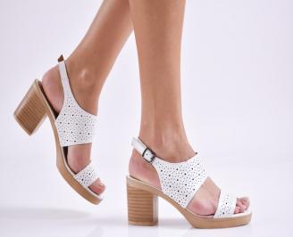 Дамски елегантни сандали естествена  кожа бели PVFV-27447