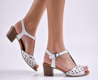 Дамски елегантни сандали естествена  кожа бели MYAZ-27449