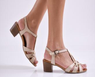 Дамски елегантни сандали естествена  кожа бежови ZELL-27452