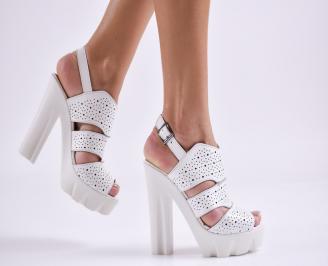 Дамски елегантни сандали естествена  кожа бели FYEN-27453