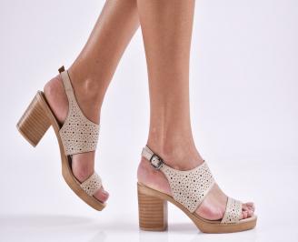 Дамски елегантни сандали естествена  кожа бежови JQRU-27460