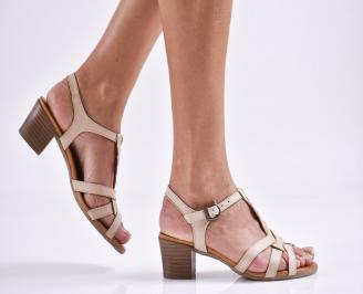 Дамски елегантни сандали естествена  кожа бежови YSKS-27464