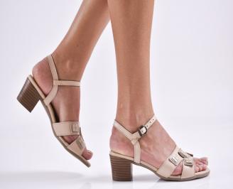 Дамски елегантни сандали естествена  кожа бежови ZAPZ-27465