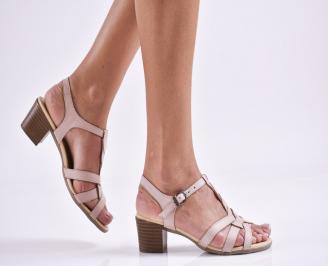Дамски елегантни сандали естествена  кожа пудра OKDS-27466