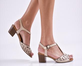 Дамски елегантни сандали естествена  кожа бежови JTJS-27467