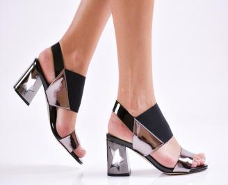 Дамски елегантни сандали еко кожа/лак сребристи GIKF-27475