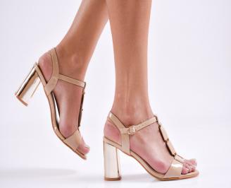 Дамски елегантни сандали еко кожа/лак бежови QYHE-27477