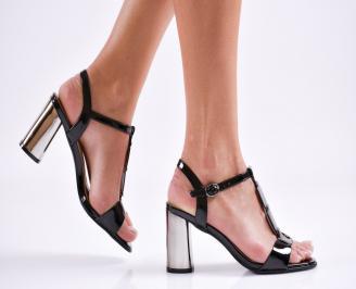 Дамски елегантни сандали еко кожа/лак черни DXIV-27479