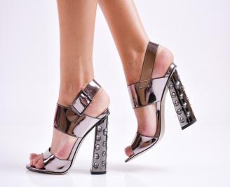 Дамски елегантни сандали еко кожа/лак сребристи MBMF-27481