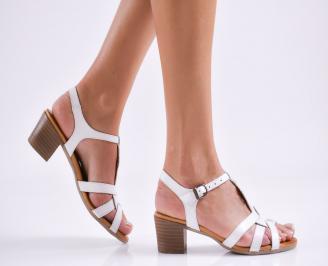 Дамски елегантни сандали естествена  кожа бели HSDE-27488