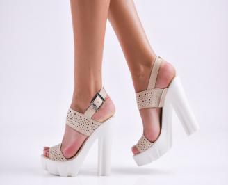 Дамски елегантни сандали естествена  кожа бежови IGBE-27495