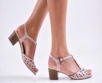 Дамски елегантни сандали естествена  кожа пудра BPDL-27496
