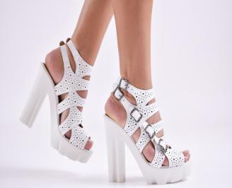 Дамски елегантни сандали естествена  кожа бели OTGF-27500