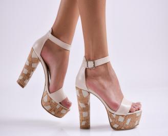 Дамски елегантни сандали еко кожа бежови ACOJ-27502