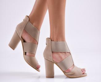 Дамски елегантни сандали еко кожа бежови WPAX-27503