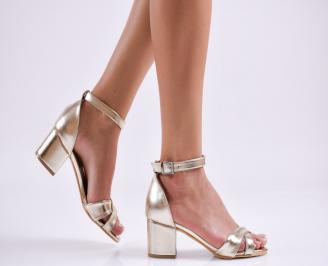 Дамски елегантни сандали еко кожа златисти LKIE-27508