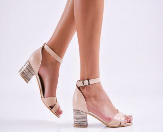 Дамски елегантни сандали еко кожа пудра FCRT-27509