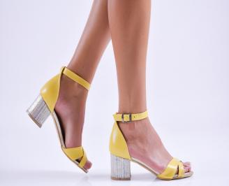 Дамски елегантни сандали еко кожа жълти ZMJS-27511