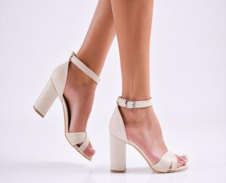 Дамски елегантни сандали еко кожа бежови JENR-27514