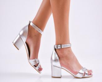 Дамски елегантни сандали еко кожа сребристи SPCP-27516