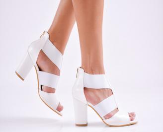 Дамски елегантни сандали еко кожа бели HZLH-27519