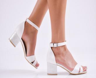 Дамски елегантни сандали еко кожа бели OLUO-27523