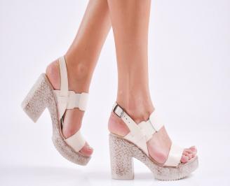 Дамски елегантни сандали еко кожа бежови IRTS-27542