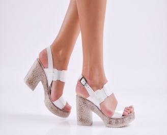 Дамски елегантни сандали еко кожа бели ZPOM-27554