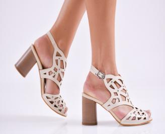 Дамски елегантни сандали еко кожа бежови SAZT-27576