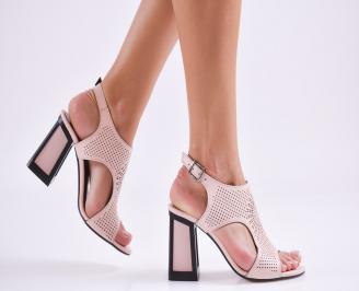 Дамски елегантни сандали еко кожа пудра ZDAT-27577
