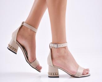Дамски елегантни сандали набук бежови JNWL-27651