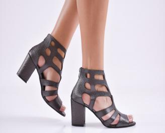 Дамски елегантни сандали еко кожа сиви AGGQ-27660