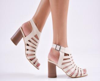 Дамски елегантни сандали еко кожа бежови OFMY-27662