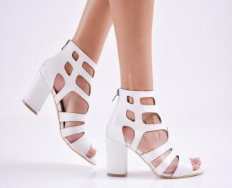 Дамски елегантни сандали еко кожа бели BGKM-27684