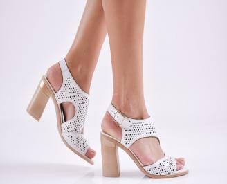 Дамски елегантни сандали еко кожа бели BSVI-27698
