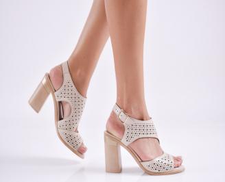 Дамски елегантни сандали еко кожа бежови TORV-27699