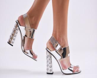 Дамски елегантни сандали еко кожа/лак сребристи DCDM-27706