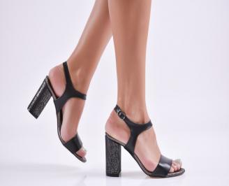 Дамски елегантни сандали еко кожа черни FUIZ-27708