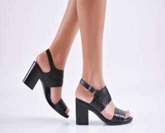 Дамски елегантни сандали еко кожа черни ZPNX-27710