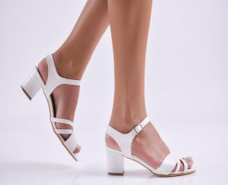 Дамски елегантни сандали еко кожа бели VQUQ-27717