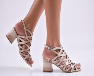 Дамски елегантни сандали еко кожа бежови AUII-27718