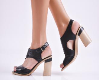 Дамски елегантни сандали еко кожа черни RLCL-27728