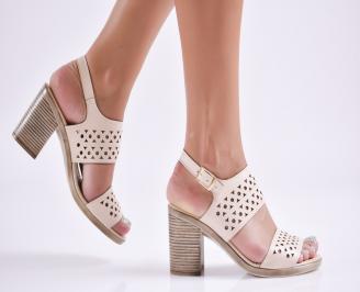 Дамски елегантни сандали еко кожа бежови VIQJ-27730