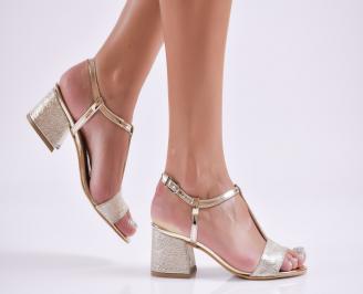 Дамски елегантни сандали еко кожа златисти ITUL-27746