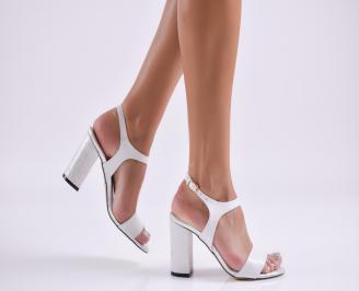 Дамски елегантни сандали еко кожа бели VVUF-27748