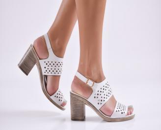 Дамски елегантни сандали еко кожа бели SZRI-27751