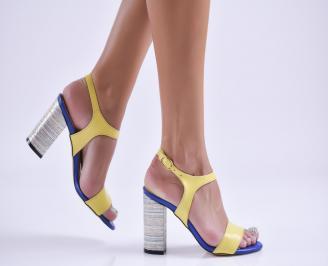 Дамски елегантни сандали еко кожа жълти AKOR-27756