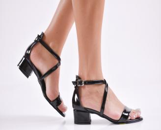 Дамски елегантни сандали еко кожа/лак черни TOYU-27776