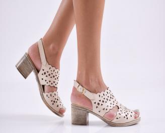 Дамски елегантни сандали еко кожа бежови UPAD-27786