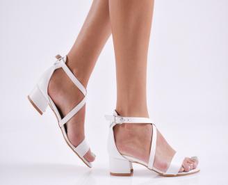Дамски елегантни сандали еко кожа бели ZVDD-27789